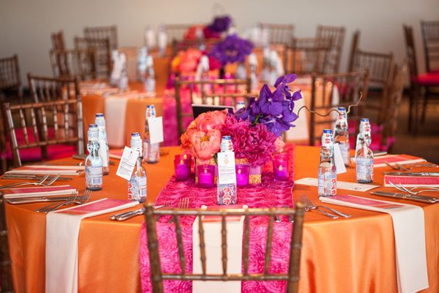 One Couples Colorful Boston Wedding Purple TablesPink WeddingPurple Orange