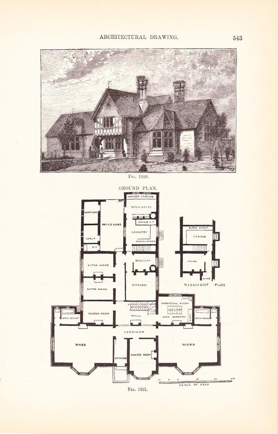 1889 Architecture Print House Blueprint Vintage Antique Art Illustration Interior Design Great F Vintage House Plans House Blueprints Architectural Prints