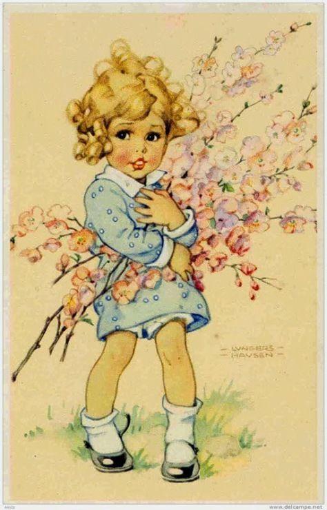 Для открыток, старинные открытки с детьми рисованные