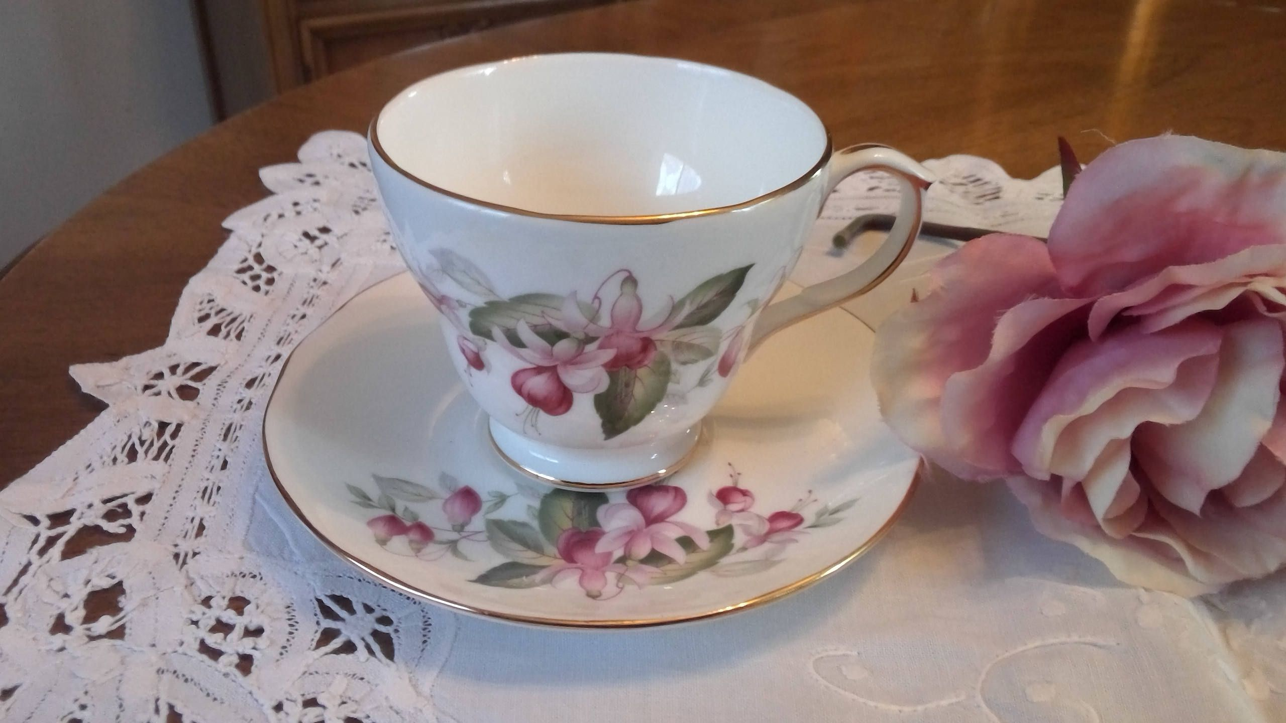 Vintage Duchess Fuchsia Tea Cup And Saucer Pink Flowers Made Etsy Tea Cups White Tea Cups Bone China Tea Cups