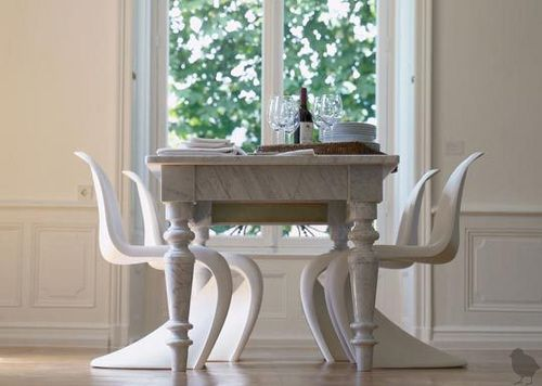 Modern + traditional mix: White dining room + Panton chairs + ...
