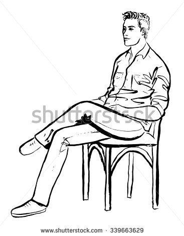 how to draw a person sitting step by step