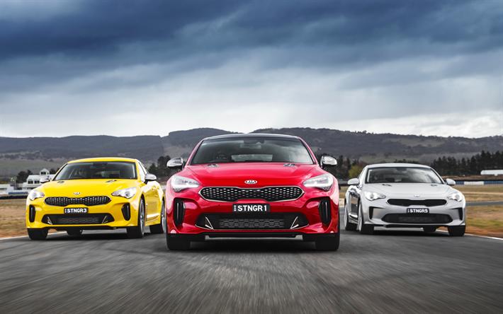 Download wallpapers 4k, Kia Stinger, raceway, 2018 cars