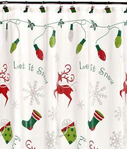 Christmas Shower Curtain Matching Hooks