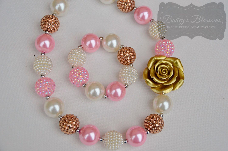 Pink u gold chunky necklace and bracelet chunky bead necklace