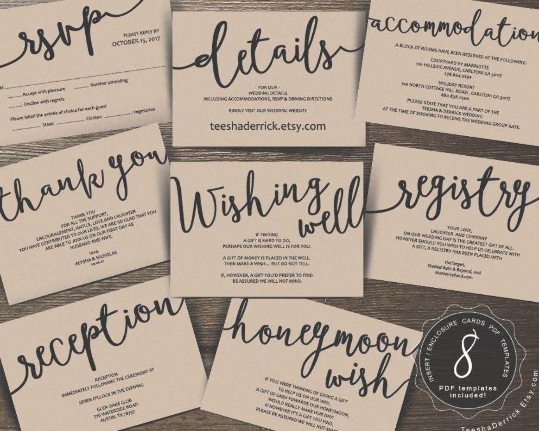 Wedding Insert Cards Pdf Template Instant Download Enclosure Card Registr Honeymoon Wish Wedding Invitations Printable Templates Wedding Invitation Inserts