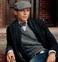 20s look with newsboy cap, bow tie, sweater vest, and shawl collar ...