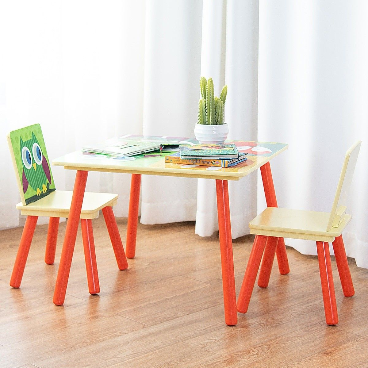 Kids Table And 2 Chairs Set Desk W Cartoon Pattern Kids Table Set Kids Chairs Kid Table