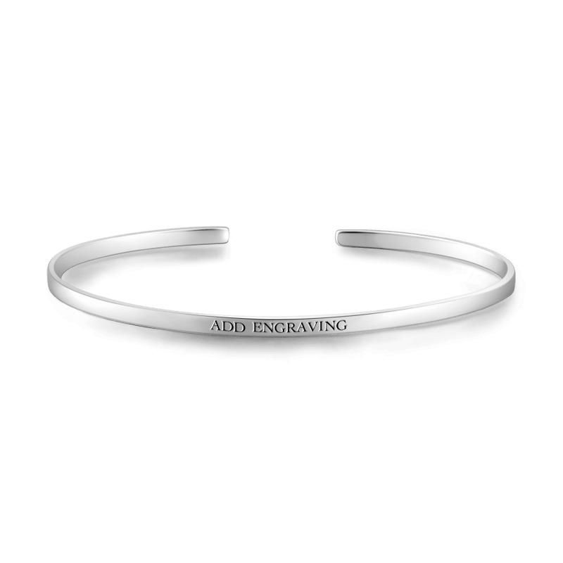 #BFCM #BlackFriday #CyberMonday #Soufeel - #Soufeel Personalized Engravable Bangle Silver - AdoreWe.com