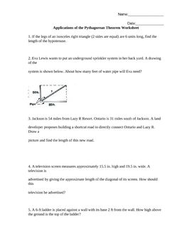 Worksheets Pythagorean Theorem Applications Worksheet this worksheet has 5 word application level problems that applications of the pythagorean theorem problems