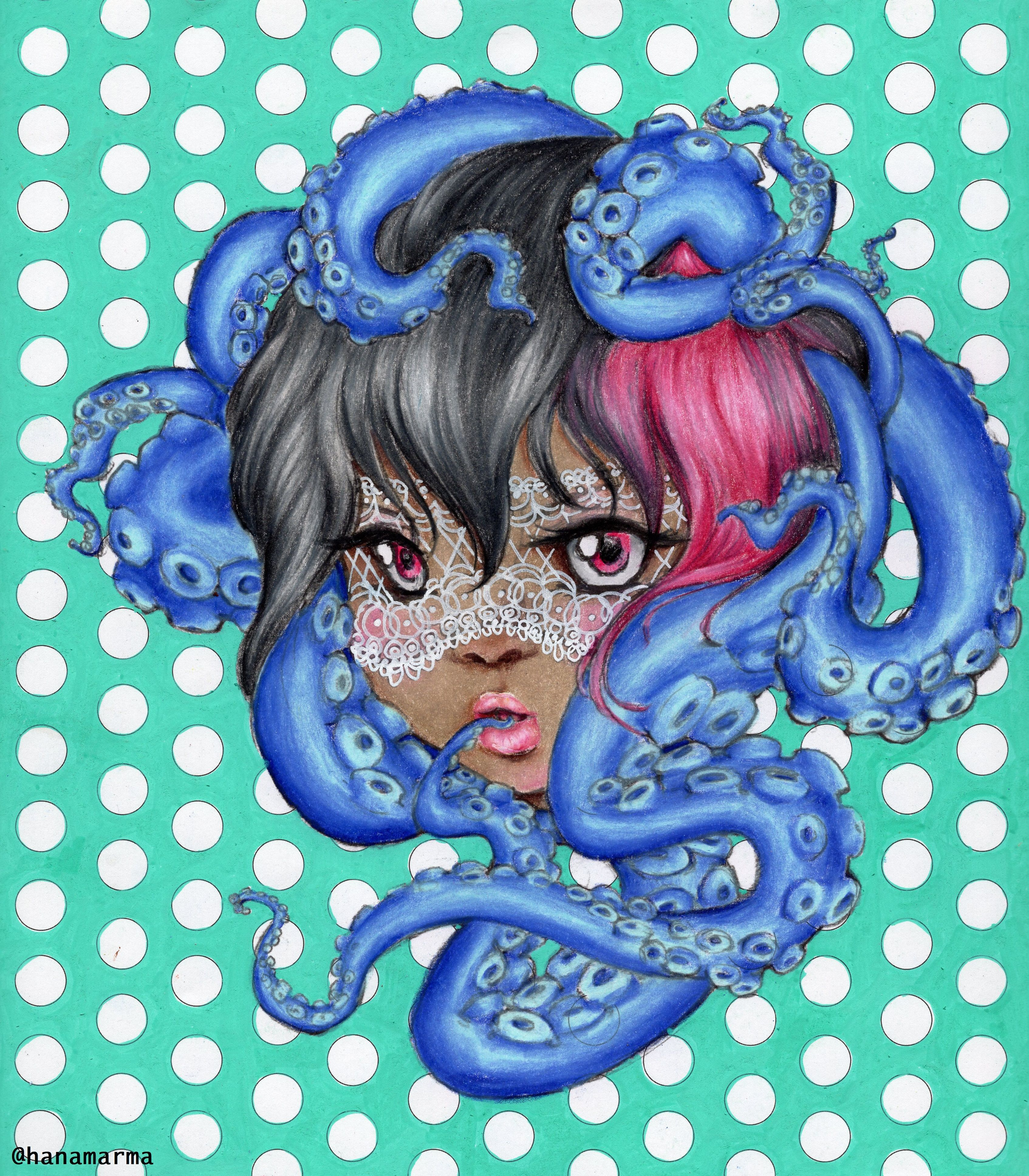 Lace And Octopus Girl From Pop Manga Coloring Book By Camilla D Errico Colored By Hanamarma Manga Coloring Book Mermaid Coloring Book Mermaid Coloring