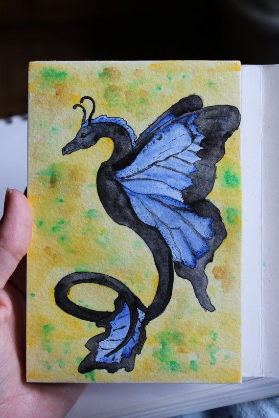 Watercolor Ulysses butterfly dragon