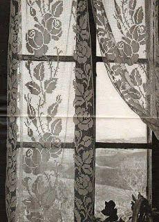 Tinas Handicraft Crochet Curtain With Roses