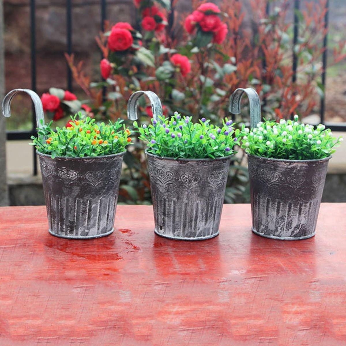 Vintage Style Metal Hanging Planter Pot Zinc Garden Plant Flower ...
