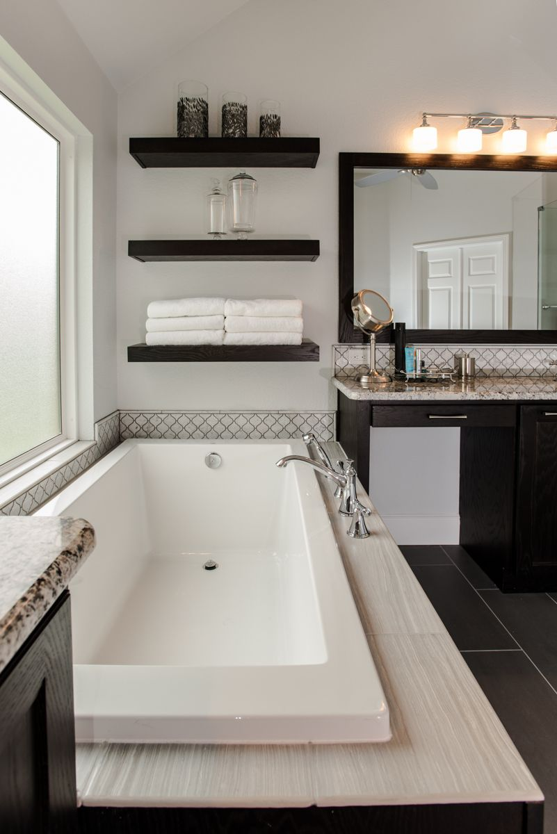 large white soaker tub in keller texas home