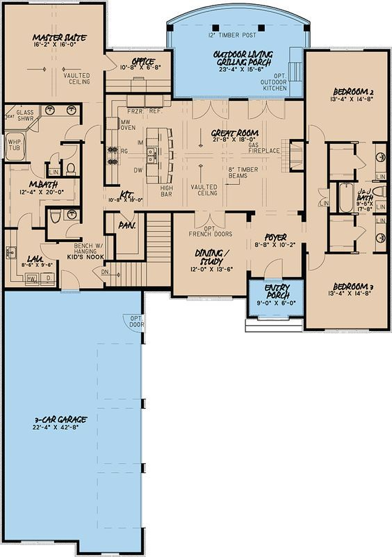 So Close Love The Layout But Not The Jack And Jill Bathroom And Connected Master W The Laundry Room French Country House Plans House Plans Best House Plans