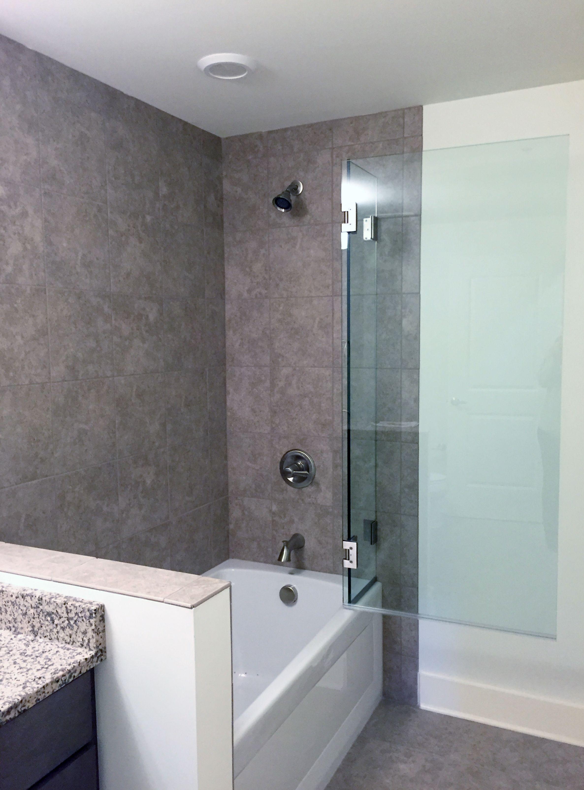 Frameless Tub Shower Enclosure: Operable Splash Panel - Furnished ...