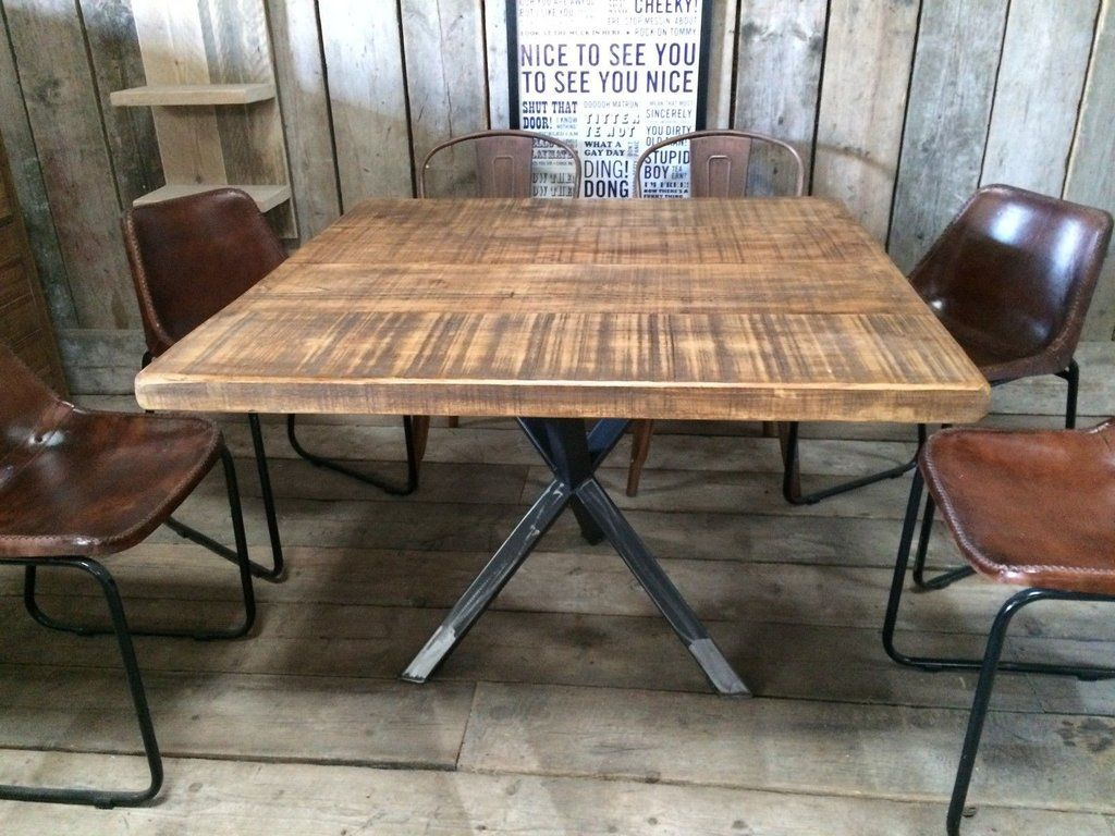 Industrial dining table and chairs - Vintage Industrial Rustic Reclaimed Plank Square Top Dining Table Tripod Steel Base Handmade Uk