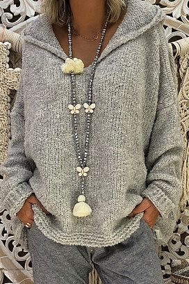 hooded loose fitting plain sweaters