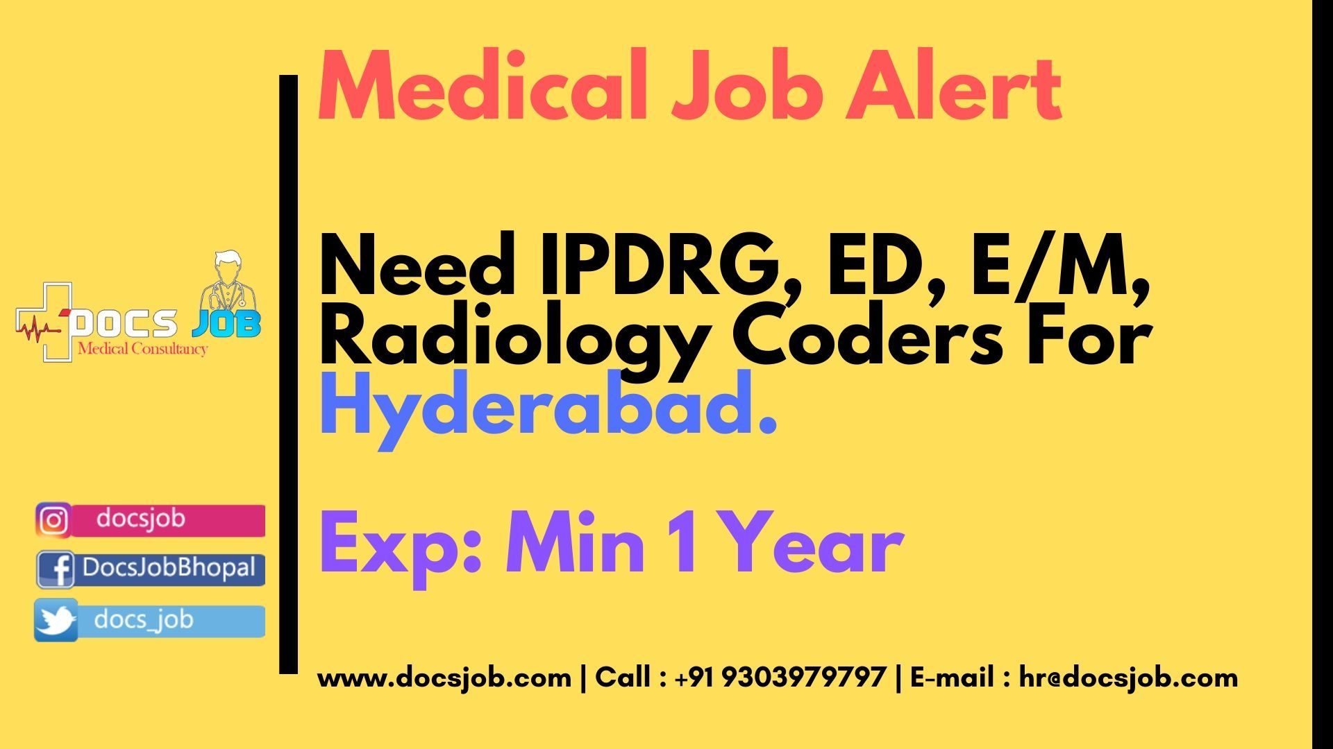 Need IPDRG, ED, E/M, Radiology coders for Hyderabad