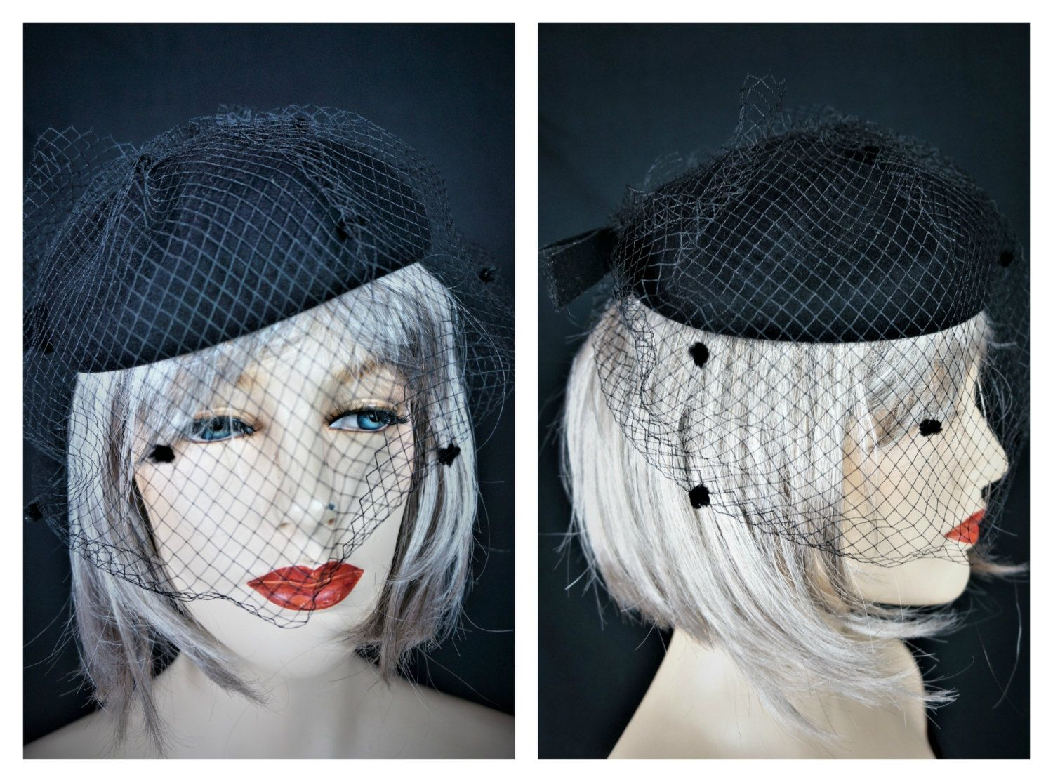 64e632a5c51 Vng Black Wool Tilt Hat   80s Couture Adolfo II New York Netted Hat   30s  Facinator Hat   Netted Black Tilt Hat   Black Wool Pin Up Hat by ...