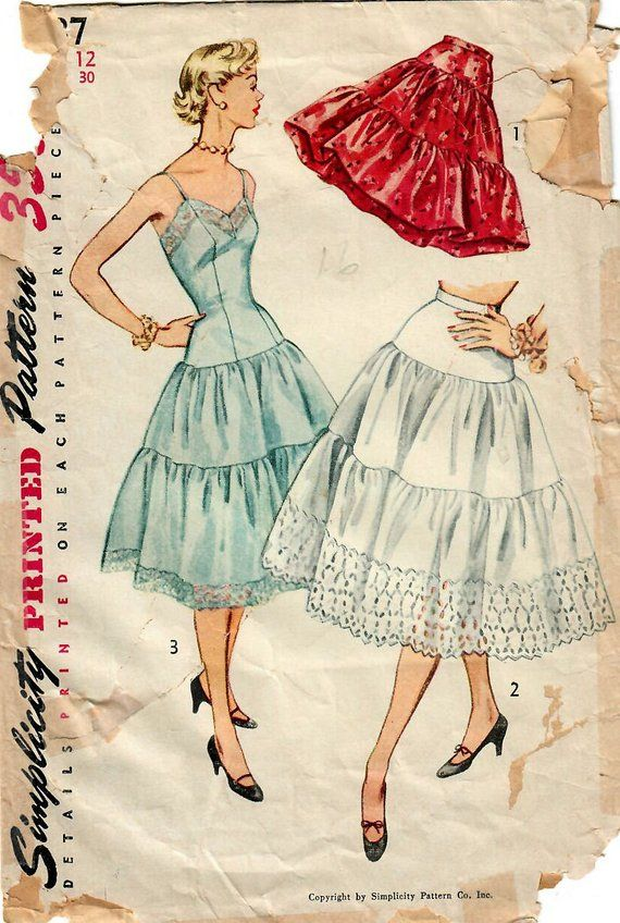 1950s Simplicity 4137 Vintage Sewing Pattern Misses Drop Waist Full ...