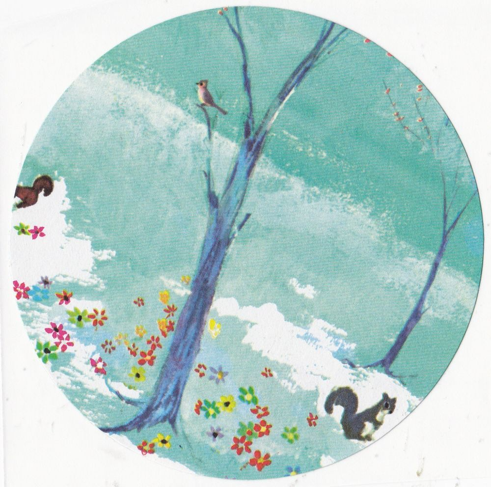 Large Winter Spring Sticker Animals Birds Squirrels Trees Kids Large Decal OOAK #Handmade