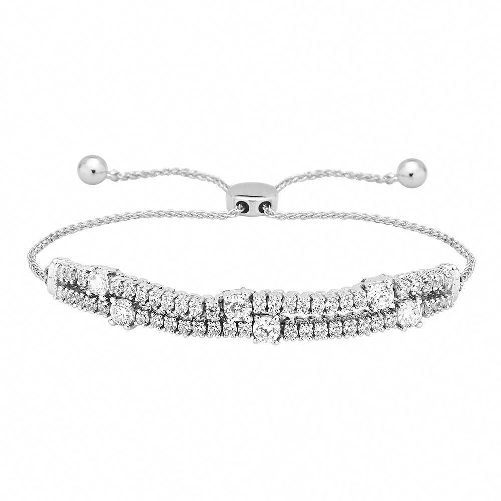 10k White Gold 2 Row Prong Set Diamond Tennis Bolo Bracelet Adjustable 2 Ct Carat Bracelets Gold Diamond Sterling Silver Diamond Bracelets Sparkly Bracelets