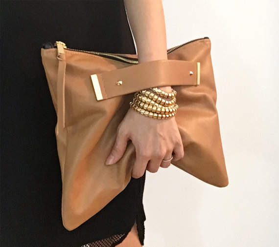 special price for convenience goods pretty nice Leather clutch with handle strap, foldover, oversized pouch ...