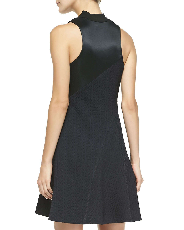 Sleeveless Irregular-Pleat Combo Dress