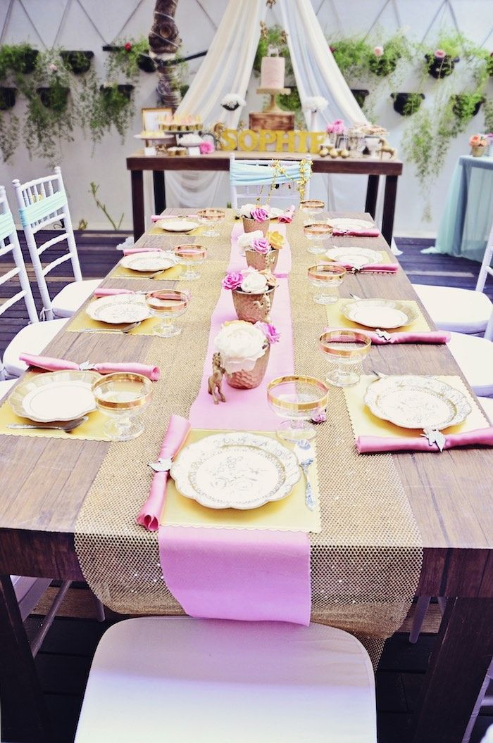 Pink Gold Party Tablescape From A Unicorn Birthday Via Karas Ideas