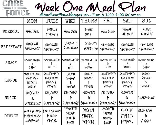 Core De Force  Day  Week  Meal Plan  Core De Force