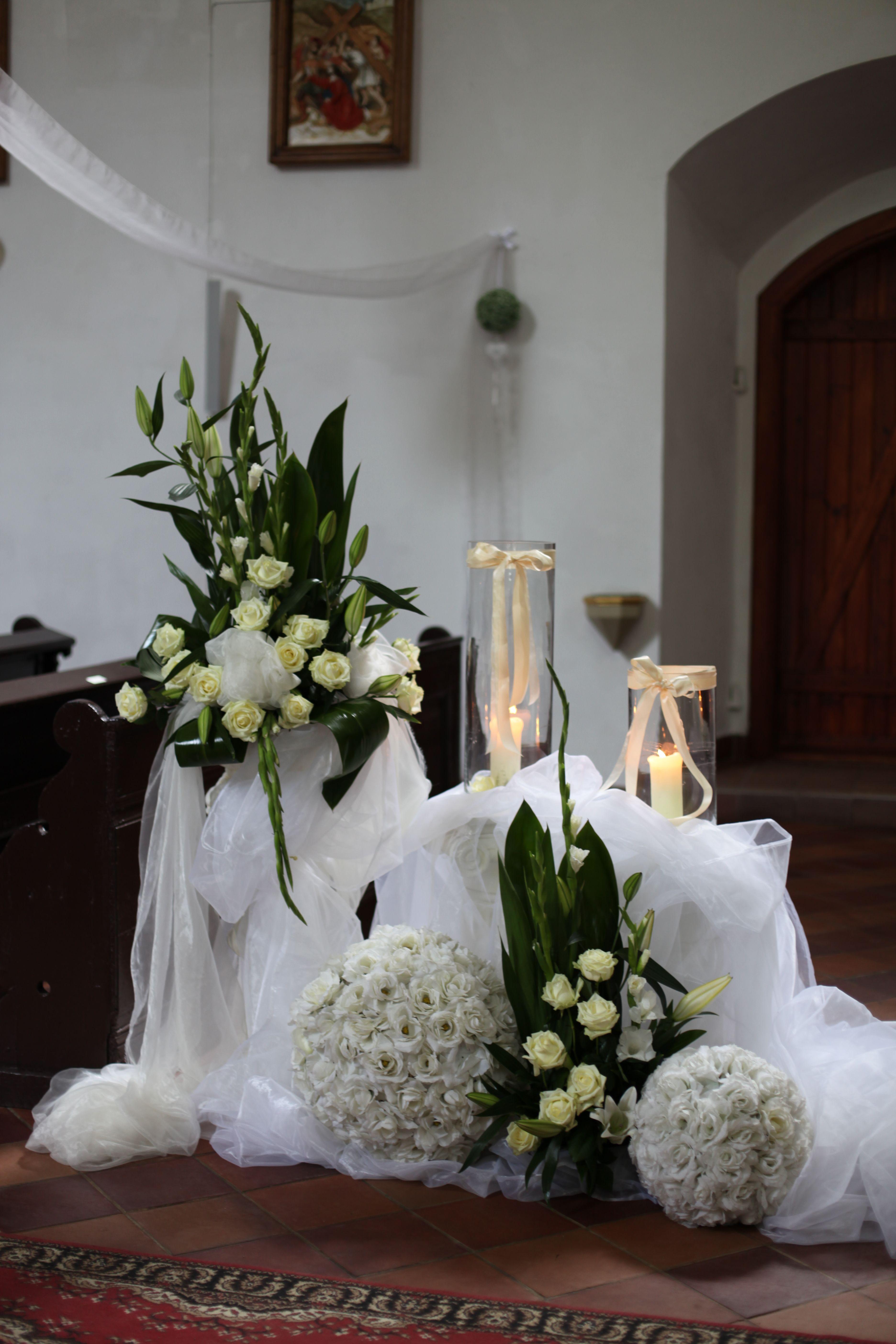 All white church wedding decor Wedding decorations Poland Church Kadyny  Weddings  Pinterest