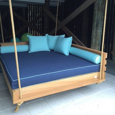 Our Swing Beds Come Standard In A Twin Full Queen Or King Size Outdoor Sunbrella Mattress Can Be Purchased Sepa Porch Swing Bed Outdoor Bed Swing Bed Swing