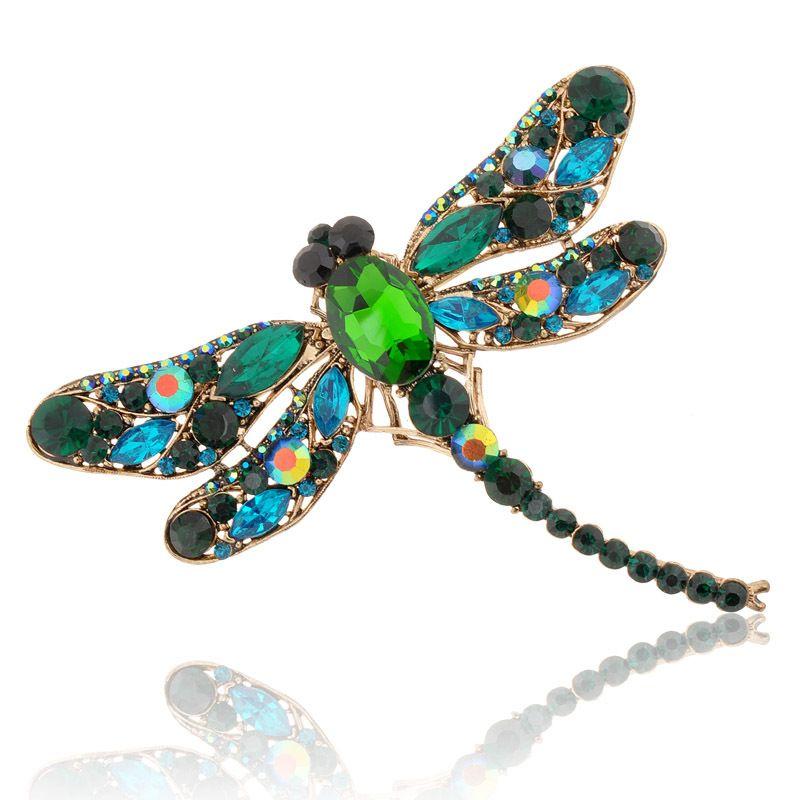 Hot 2015 Nova Moda Jóias Broochs 8 Cores Linda Libélula de Strass Cristal Do Vintage Pinos Cachecol Broches Para As Mulheres
