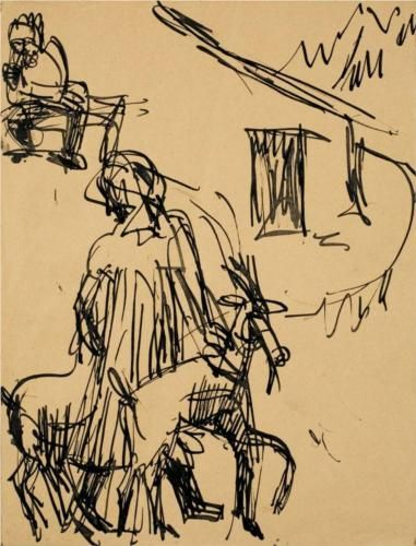 Mountain Hut with Goat - Ernst Ludwig Kirchner, Wikipaintings