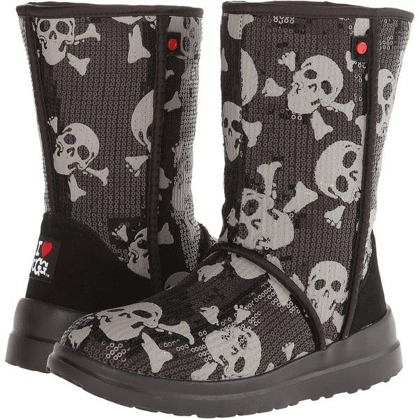 UGG Kisses Short Women's Boots, Black ($48) ❤ liked on Polyvore featuring shoes, boots, black, slipon boots, kohl shoes, kohl boots, pull on boots and slip on boots