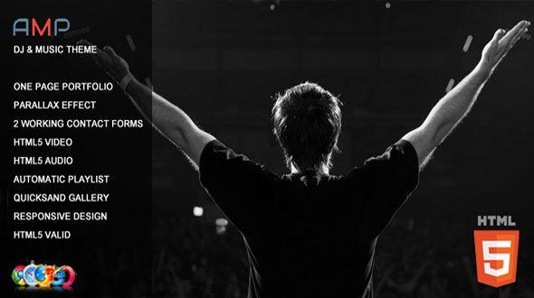 Amp - DJ Music One Page Parallax Portfolio