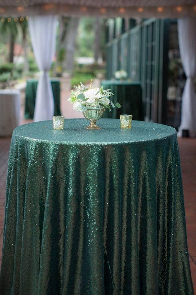 Emerald Green Sequin Tablecloth modern & glamorous wedding table decor #Decor #Emerald-green #party_decor