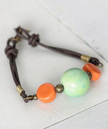 Aqua & Orange Ceramic-Bead Leather Bracelet #zulily #zulilyfinds
