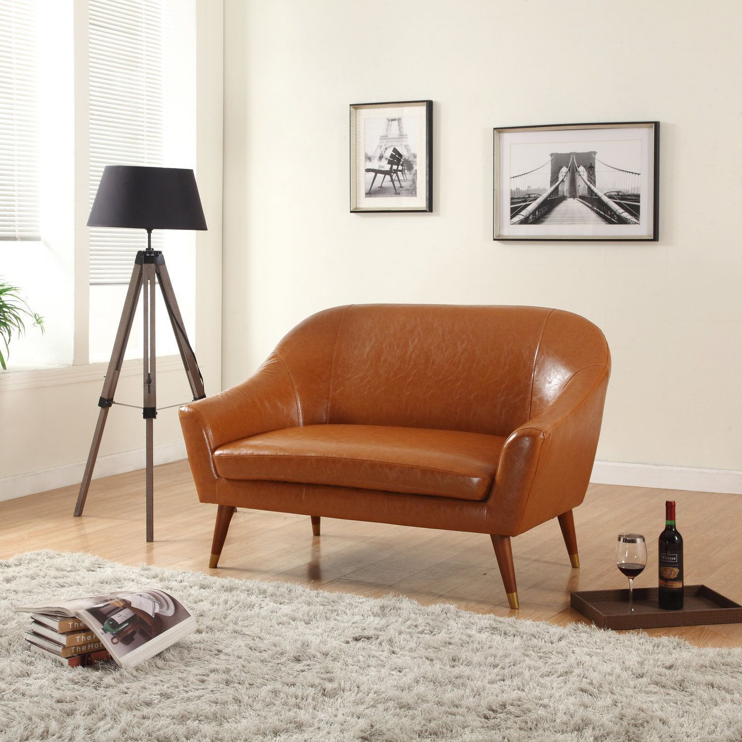 Madison Signature Collection Mid Century Modern Bonded Leather Living Room  Loveseat (Brown)