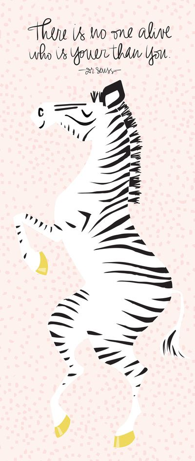 Pink Zebra (Dr. Seuss quote) Right Stretched Canvas