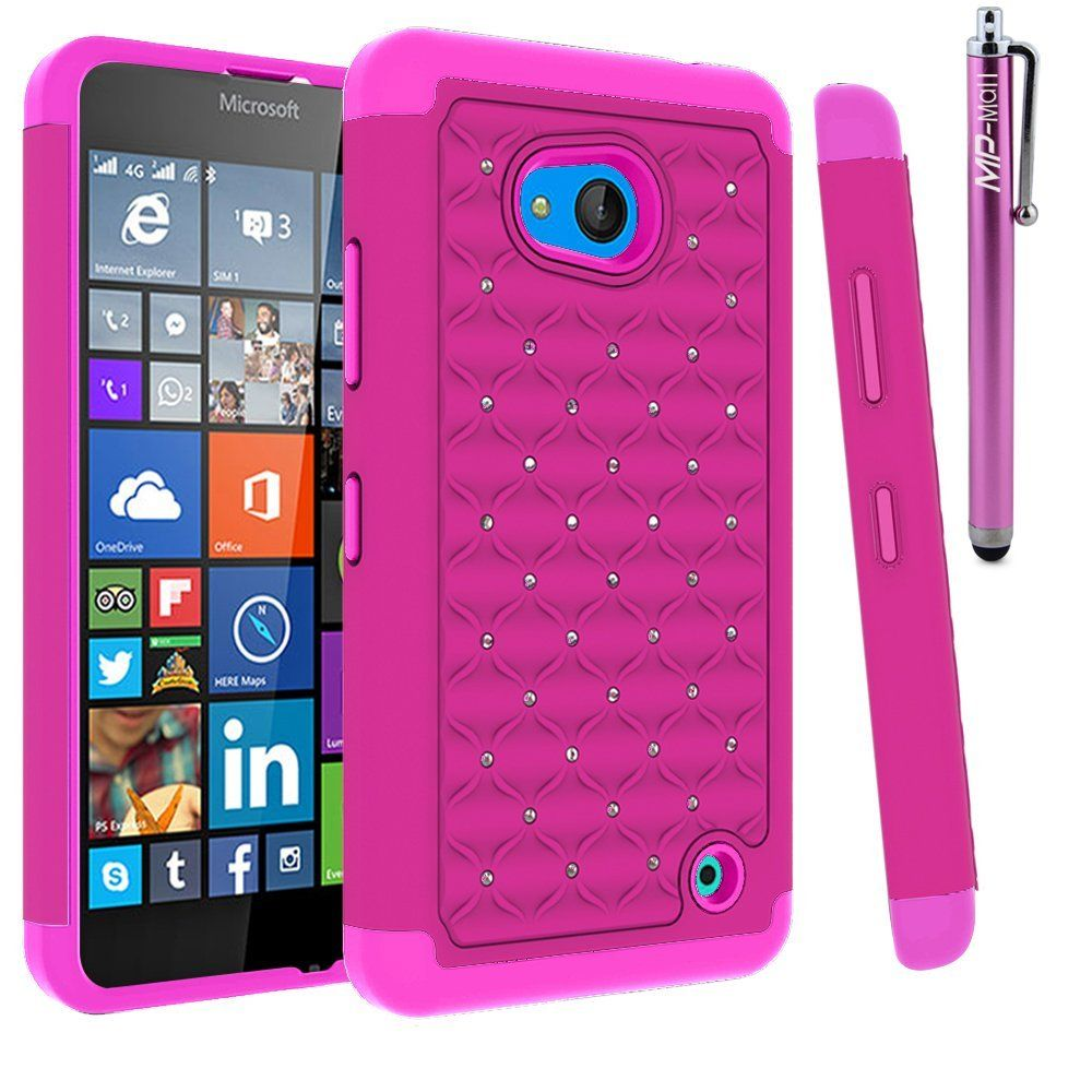 Amazon.com: Lumia 640 Case, MP-Mall Microsoft Lumia 640 Studded Rhinestone Crystal Bling Dual Layer Hybrid Defender Armor Case Cover for Lumia 640 with Stylus (Mint Green): Cell Phones & Accessories