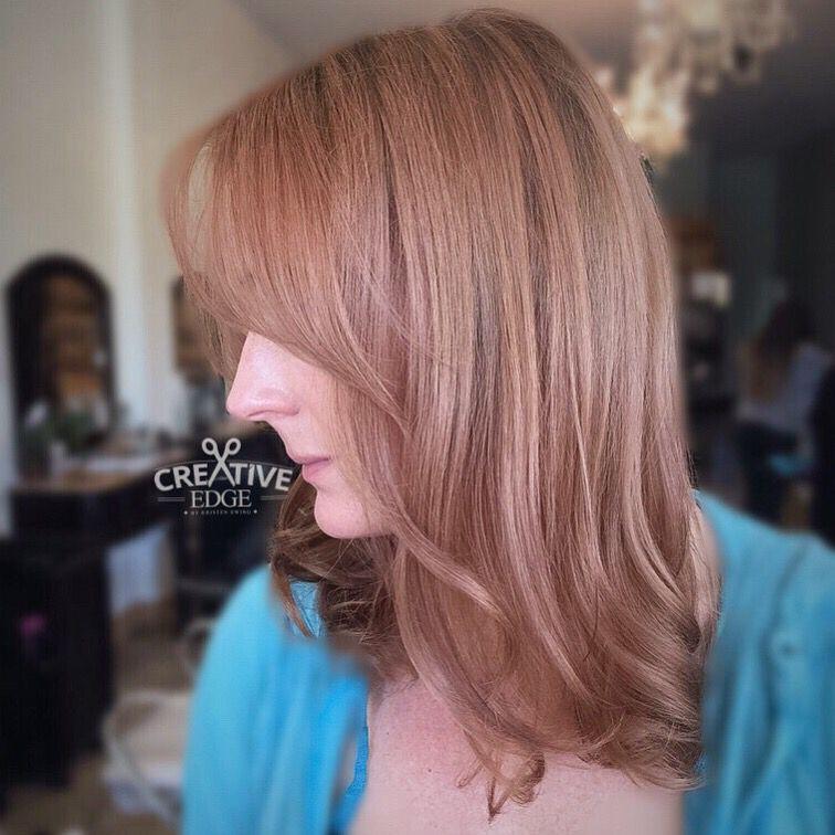 Soft rose gold blonde created using Balayage! By Kristen Ewing @CreativeEdgebyKristen on Instagram!