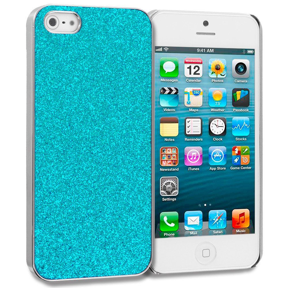 Baby blue glitter case cover for apple iphone 5 5s