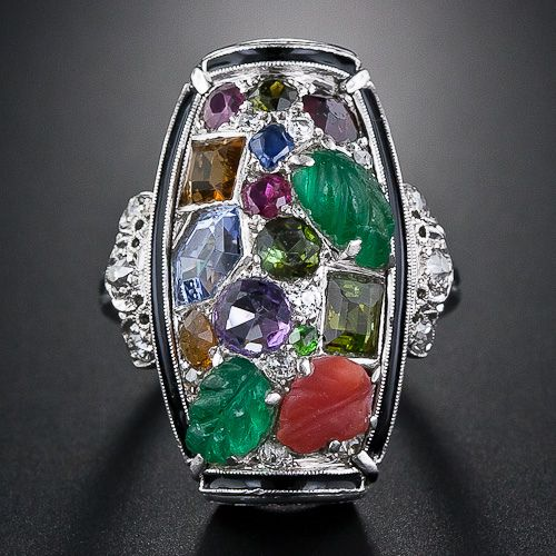 Love this tutti-fruiti antique ring, esp the unconventional gemstone cuts from Lang Antiques