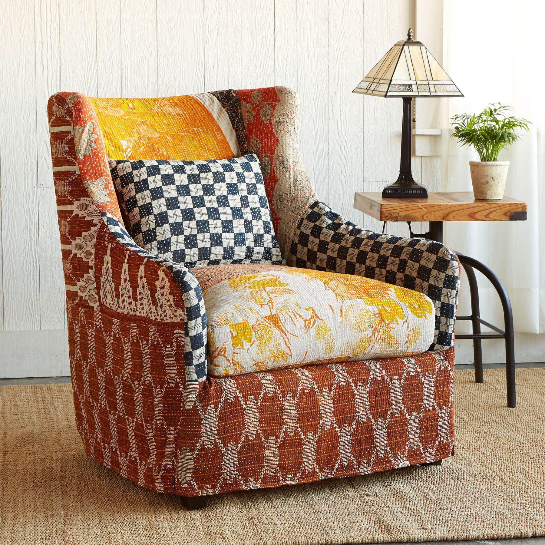 Khajjiar slipcovered sari chair precious patches of vintage khadi