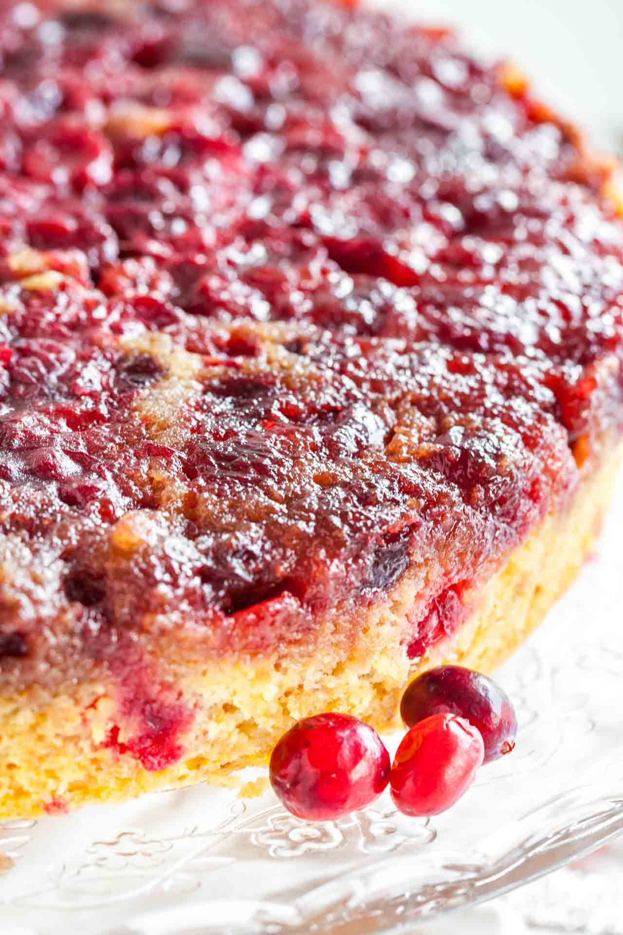 Cranberry Christmas Cake is made with fresh cranberries