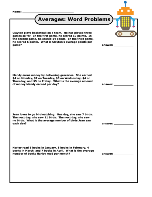 Finding Averages Word Problems | Free printable worksheets ...