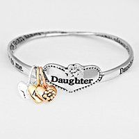 """Womens Jewelry, Color : Copper Burnished, Silver Burnished, Gold Burnished • Theme : Heart • Size : 1"""" H , 2 5/8"""" D • """"Daughter"""" Message Bracelet WT001 http://www.amazon.com/dp/B012P7VUUO/ref=cm_sw_r_pi_dp_ly8qwb1C3YEKF"""